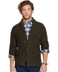 Ralph Lauren Herringbone Sweater Jacket - Lyst