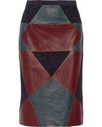 Derek Lam Paneled Nubuck and Leather Pencil Skirt - Lyst