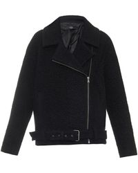 Tibi Textured Wool-blend Biker Jacket - Lyst