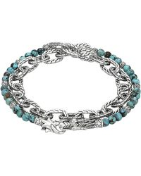 John Hardy Naga Double Wrap Silver Link Bracelet With Turquoise - Lyst