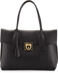 Ferragamo Sookie Medium Leather Satchel Bag Black - Lyst