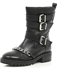 River Island Black Chain Trim Biker Boots - Lyst