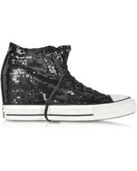 Converse - All Star Mid Lux Black Sequins and Canvas Wedge Sneaker - Lyst