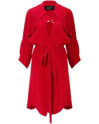 Paper London Red Silk Trench Coat  - Lyst