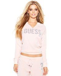 Guess Longsleeve Vneck Cropped Sweatshirt - Lyst