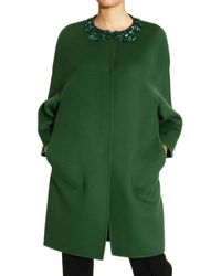 Ermanno Scervino Coat Double Wool Cape with Gemstone Details - Lyst