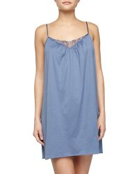 Hanro Roma Lace-Trimmed Chemise - Lyst