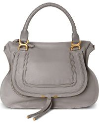 Chloé Marcie Large Leather Tote Cashmere Grey - Lyst
