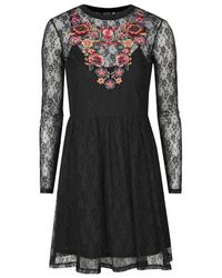 Topshop Lace Embroidered Flippy Dress - Lyst