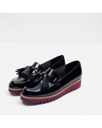 Zara | Tasselled Loafers With Contrast Sole | Lyst