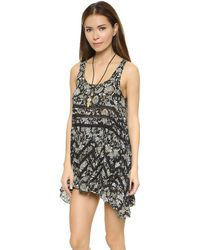Free People Printed Voile Dress - Black Combo - Lyst