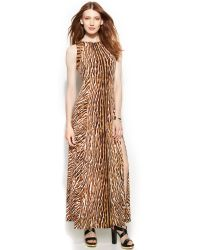 Michael Kors Michael Petite Sleeveless Animalprint Studded Maxi Dress - Lyst
