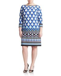 Eliza J Plus Printed Shift Dress blue - Lyst