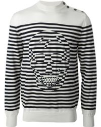 Alexander McQueen Striped Skull Sweater - Lyst