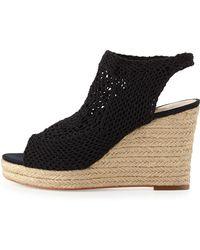 Vince Camuto Signature Minerva Crochet Wedge Sandal Black 6 - Lyst