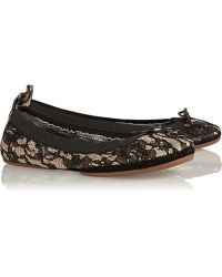 Yosi Samra Fold-up Lace and Suede Ballet Flats - Lyst