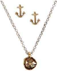 Lucky Brand - Goldtone Sand Dollar Necklace Anchor Stud Earrings Set - Lyst