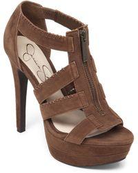 Jessica Simpson Leather Strappy Platform Sandals - Lyst