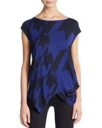 Stella McCartney Asymmetrical Houndstooth Check Tee - Lyst