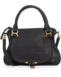 Chloé Marcie Medium Perforated Satchel black - Lyst