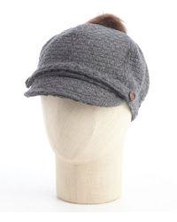 Grace Hats Grey Wool Blend 'Pom Casquette' Faux Fur Accent Cap - Lyst