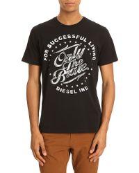 Diesel Tbalder Black Print T-shirt - Lyst