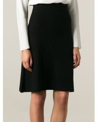 Chloé Black Ribbed Skirt - Lyst