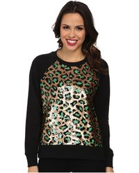 MICHAEL Michael Kors Cheetah Sequin Long Sleeve Terry Top - Lyst