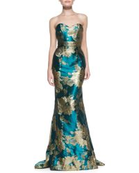 Theia Strapless Floral Mermaid Gown Teal Gold 6 - Lyst