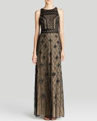 Adrianna Papell Gown Sleeveless Beaded Cage Bodice - Lyst
