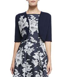 Carolina Herrera Lace Floral-applique Knit Bolero - Lyst