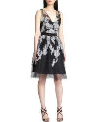 Teri Jon Embroidered Tulle Dress - Lyst