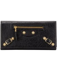 Balenciaga Giant Golden Money Wallet Black - Lyst