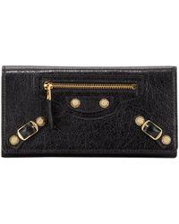 Balenciaga Giant Golden Money Wallet Black - Lyst