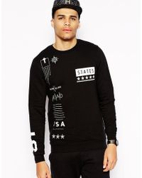 Asos Sweatshirt with Symbols Print - Lyst