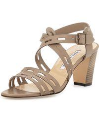 Manolo Blahnik Leather Cutout Strappy Sandal - Lyst