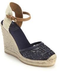 Tory Burch Lucis Lace Espadrille Wedge Sandals - Lyst