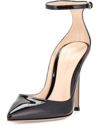Gianvito Rossi | Ankle-Strap Patent-Leather Pumps | Lyst