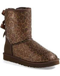 Ugg 'Bailey Bow Glitter' Boot gold - Lyst