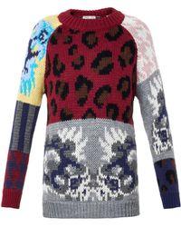 Tak.ori - Leopard And Floral Intarsia-knit Sweater - Lyst