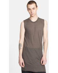 Rick Owens Long Sleeveless T-Shirt - Lyst