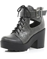 River Island Grey Croc Cut Out Block Heel Boots - Lyst