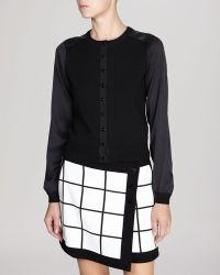 Karen Millen Cardigan - Fine Gauge Knit Collection with Silk Sleeves - Lyst