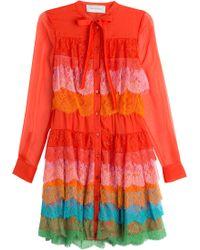 Valentino Silk Chiffon Dress With Lace - Lyst