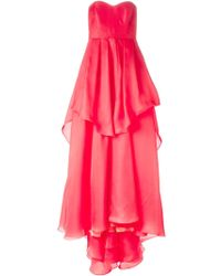 Badgley Mischka Strapless Layered Ruffle Gown - Lyst