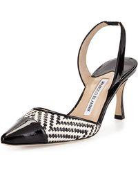 Manolo Blahnik Carolyne Patent-Toe Woven Mid-Heel Pump - Lyst