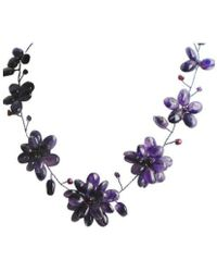 Aeravida - Genuine Amethyst With Pearl Stone Floral Necklace - Lyst