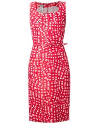 Oscar de la Renta Abstract Print Belted Dress - Lyst