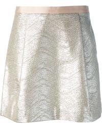 Tory Burch Front Pleats A-line Mini Skirt - Lyst