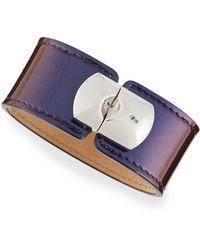 Balenciaga Amethyst Leather Padlock Bracelet - Lyst
